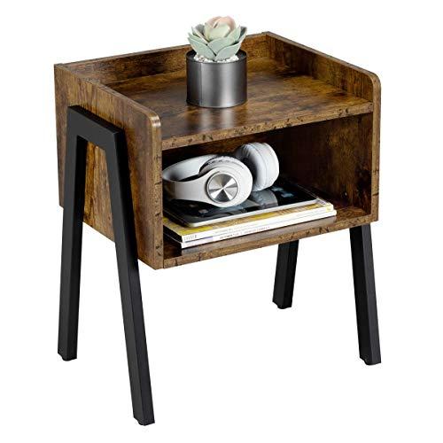 Yaheetech Mesita de Noche Mesita Auxiliar Industrial Mesa para Café con Compartimento Mesita Vintage