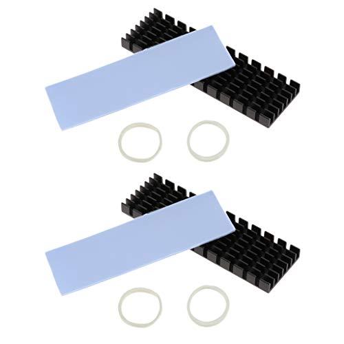 Shiwaki 2 Paquets M.2 NGFF 2280 SSD Radiateur à Disque Dur en Aluminium Dissipateur de Chaleur en Aluminium