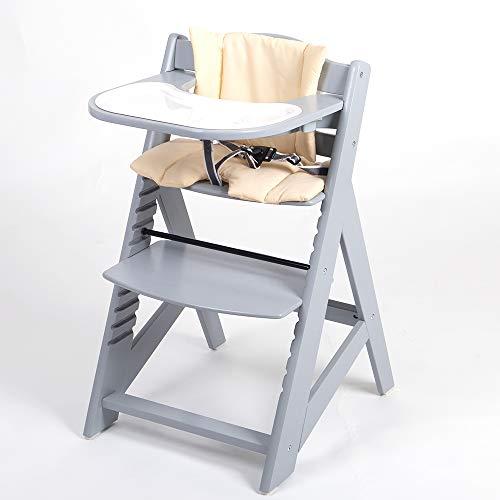 Kinderhochstuhl Hochstuhl Treppenhochstuhl Babyhochstuhl Kindertreppenhochstuhl Babystuhl 65224-04 grau/creme