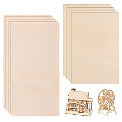 Wood Sheets, BENBO 12 Packs Natural Thin Unfinished Wood Plate Board DIY Wooden Panels Hobby Plywood Board for House Airplane Ship Boat DIY Model Art Craft Project (2 Sizes)