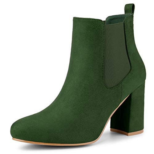 Allegra K Women's Round Toe Chunky Heel Chelsea Ankle Boots Green 7.5 M US
