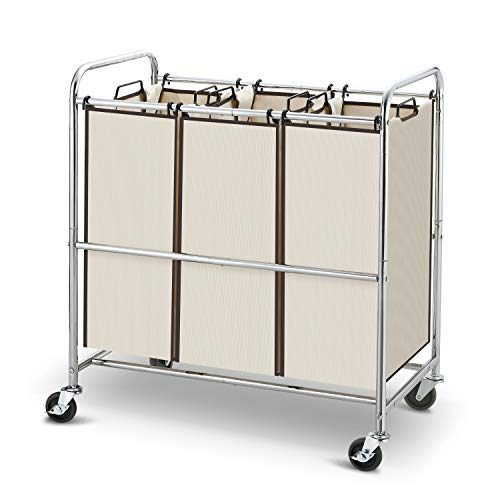 Simple Trending Heavy Duty 3-Bag Laundry Hamper Sorter Cart with Rolling Wheels, Chrome