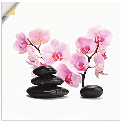 Artland Wandbild selbstklebend Vinylfolie 30x30 cm Wanddeko Wandtattoo Asiatische Motive Wellness Zen Steine Orchideen Asien T6BI