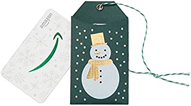 Amazon.com Gift Card in a Green Snowman Tag