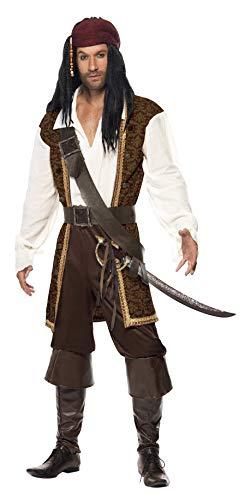 """Smiffy'S 26224L Disfraz De Pirata De Alta Mar Con Top, Pantalones Cortos, Tahalí Cinturón Y Pañoleta Para La Cabeza, Marrón, L - Tamaño 42""""-44"""""""