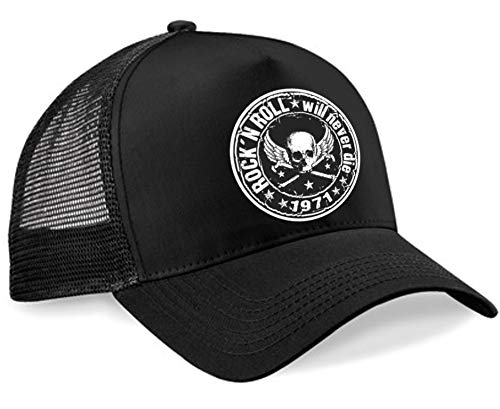 HELLMOTORS Rock n Roll Trucker Cap schwarz Basecap Mütze Old School Retro