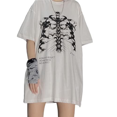 Camisetas para mujer góticas Punk Skeleton Y2k E-Girls 90s Harajuku Crop Top Goth Vintage Estética Graphic Print manga corta