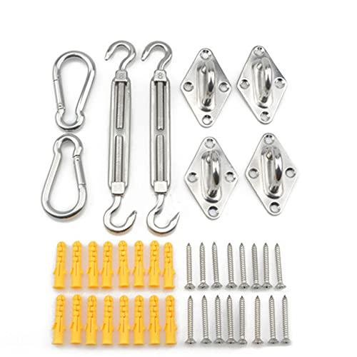 DaMohony Kit de hardware de vela de sombra de sol de acero inoxidable 304 antioxidante con tensor Padeyes Snap Hook Tornillo de expansión de plástico