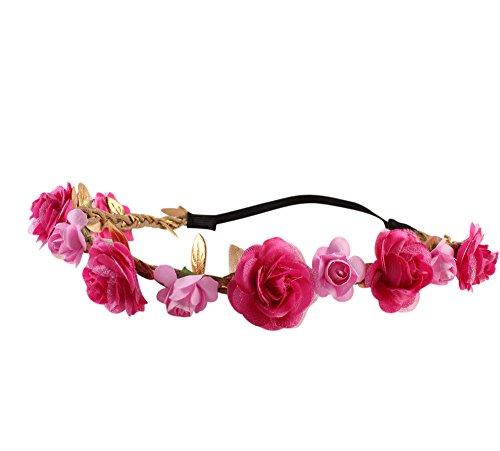 Detrade Hochzeits Brautjungfern Blumenblumen Festival Stirn Stirnband Haar Girlande Meer Urlaub Girlande (Hot Pink)
