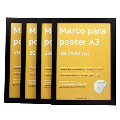 Nacnic Set de 4 Marcos Negros tamaño A3-29,7x42cm. Marco de Color Negro