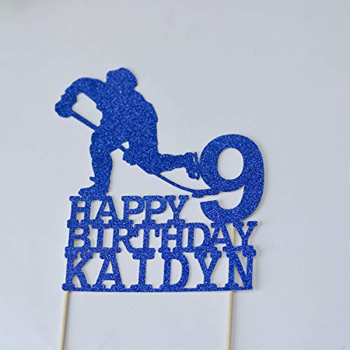 Hockey Birthday Cake Topper Hockeybirthday Party Decoration Blue And Red Birthday Baseball Cake Topper Personalized Cake Topper Glitter Cardstock Topper