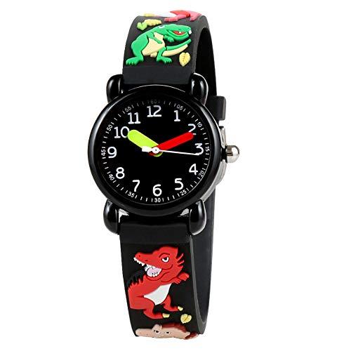 Reloj de cuarzo impermeable de dibujos animados para niños, reloj de pulsera lindo para bebés con correa ajustable de PVC Reloj de enseñanza de aprendizaje Accesorios educativos de juguete(Dinosaurio)