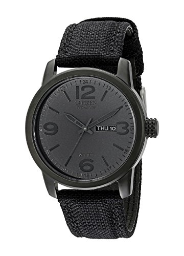Black Anodized Eco-Drive Black Dial Black Canvas Strap