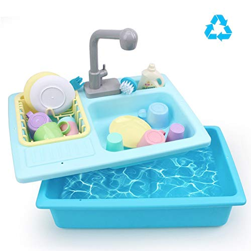 Spülbecken Spielzeug, Simulation Küchenspüle Spielset Mit Fließendem Wasser Vortäuschen Sie Spielen Waschen Küche Spielzeug Geschirr Presse Wasserhahn and Abfluss Blue