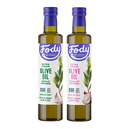 Fody Foods Vegan Extra Virgin Olive Oil Pack | Italian Made Shallot and Garlic Infused | Low FODMAP Certified | Gut Friendly | IBS Friendly Kitchen Staple | Gluten Free Non GMO | 2 Bottles, 250mL