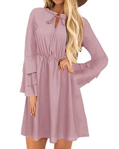 YOINS Sommerkleid Damen Minikleid für Damen Brautkleid Glockenärmel Tshirt Kleid Rundhals Langarm Minikleid Strandkleid Langes Shirt Lose Tunika Pink-01 M