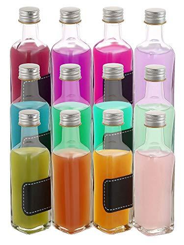 12 Glasflaschen 100ml Eckig - Schraubverschluss - 12 Etiketten mit Stift - Leere Flaschen