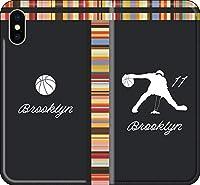 【手帳型 全機種対応】 バスケ iPhone 12 mini pro Max Xperia Galaxy 楽天 UQ Yモバイル Android シルエット スマホケース カバー(アウェイ/ブルックリン:11番_E) ネッツ 08 iPhone11 pro Max
