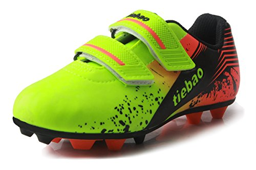T&B Kids' Soccer Cleats Firm Ground Football Boots Outdoor Sports Neon Green/Orange 76660A-Lv-35