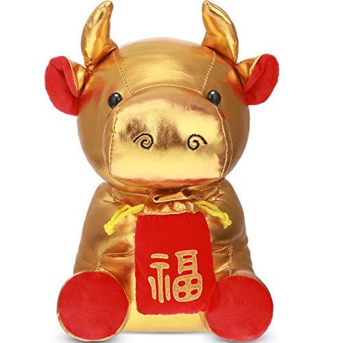 Mascota de Vaca China Muñeco de Peluche de Vaca Dorada del Año del Buey de 8,6 Pulgadas Juguete de...