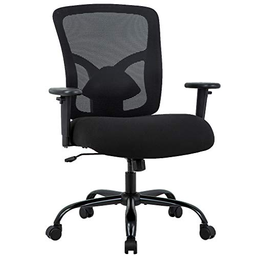 Big and Tall Office Chair 400lbs Cheap Desk Chair Mesh Computer Chair with Lumbar Support Wide Seat Adjust Arms Rolling Swivel High Back Task Executive Ergonomic Chair for Women Men,Black