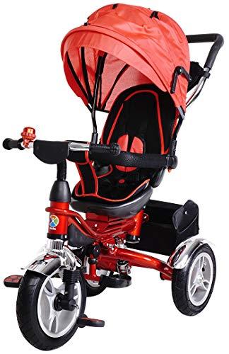 Miweba Kinderdreirad Schieber 7 in 1 Kinderwagen - 360° Drehbar - Faltbar - Luftreifen - Heckfederung - Laufrad - Dreirad - Schubstange - Ab 1 Jahr (KSF10 Faltbar Rot)