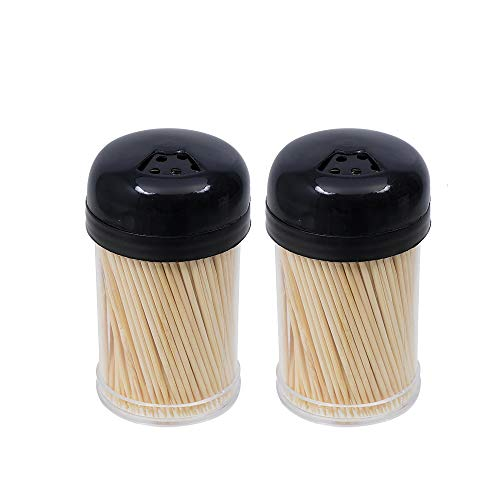 CavanyKitchen 600 Toothpick Holder – 2 Storage Dispensers Natural Wooden Bamboo Seal Twist Cap Sturdy Safe Double Sided Eco-Friendly Ideal for Many Occasion