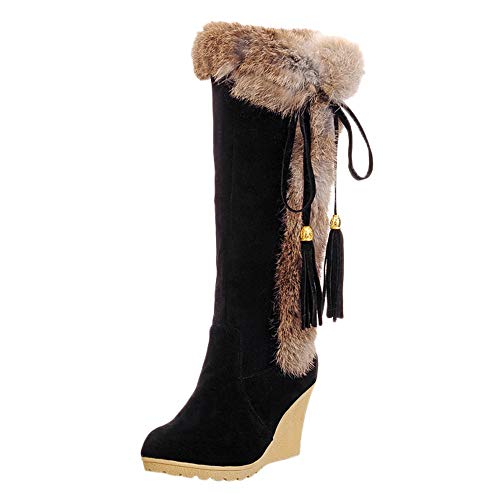 Cenglings Women's Mid-Calf Snow Boots, Tassel Wedge Shoes Round Toe Fur Line Knee High Warm Boots Size 5.5-9