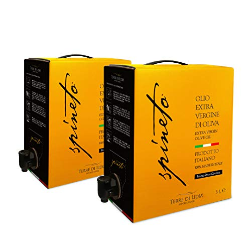 2 CONFEZIONI da 3 Litri - Olio Extravergine di Oliva - EVO - Spineto - Terre Di Lidia - BiB - Bag in Box 3 Litri - 100% Prodotto Italiano - Cultivar Coratina - Campagna 2020/2021