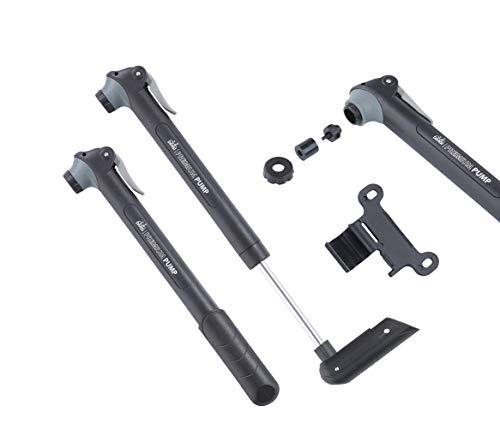 DANSI Unisex– Erwachsene Mini-Fahrradpumpe, mit austauschbarem Ventileinsatz und Halter, T-Griff, schwarz, 44304 Luftpumpe, One Size