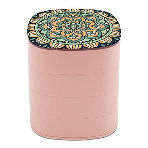Rotar la caja de joyería con gráficos de arte chino hechos a mano, cajas de joyería bohemia con espejo, cajas de joyería a granel, soporte de joyería de diseño multicapa para mujeres, niñas y niños