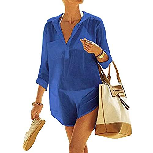 UMIPUBO Cubretrajes de baño para mujer, elegante, color liso, protección solar, camisa, talla única, para playa, piscina, playa, verano, vacaciones