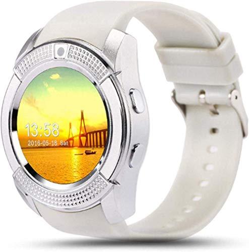 TIANYOU Smart Watch Bluetooth Smart Watch Touch Screen Wrist Watch with Camera/Sim Card Slot Waterproof Smart Watch-Sier Best Gift/White