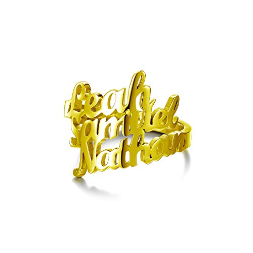 PEIMKO Name Ring Personalized Custom Made with 3 Names-Gift for Mothers Ring for Her (Gold Plated Copper)
