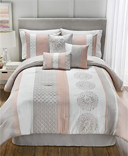Hallmart Collectibles Crawford 7 Piece King Comforter Set, Grey/Peach