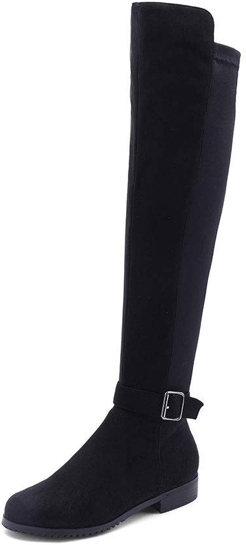 Ghapwe Knee High Boots for Women Chunky Heel Autumn Winter shoes Buckle Footwear Ladies Riding Big Size 34-43 Fashion Leg Length Girl Leg Length Elegant Girl Reasing Black 7 M US shoes