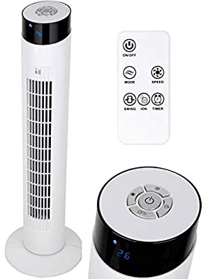 """MYLEK Electric Tower Fan Oscillating with Remote Control, Ioniser, Timer, Quiet and 3 Cooling Speed Settings, Energy Efficient - White, 34"""""""