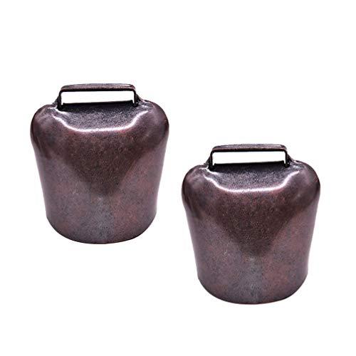 Exceart - 2 caballos de vaca para peces, campanas y campanas, de bronce y cobre, para animales de granja, campana, para accesorios, antirrobo 62G - Talla L