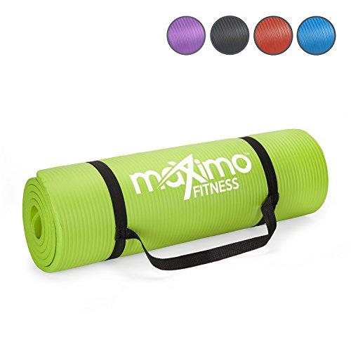 Maximo Fitness Tappetino per Esercizio Fisico Tappetino da Palestra NBR di Alta qualità – Extra Spesso 12 mm, Multiuso – Perfetto per Yoga, Pilates, Addominali. (Green)