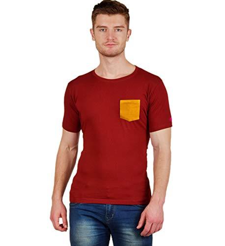 PrintOctopus Plain Tshirt for Men (5+ Styles Available) | Basic T-Shirt | Plain Maroon T-Shirt | Maroon Solid Colour Tshirt | Round Neck T Shirt | Cotton T-Shirt | Short Sleeve and Long Sleeve T Shirt