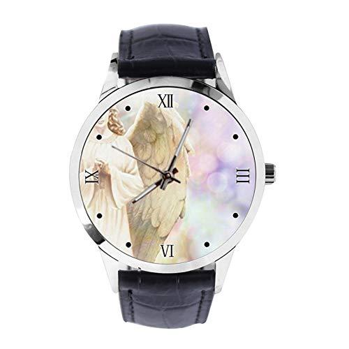 Reloj de Pulsera Tradicional con diseño de ángel con alas en el Espacio, Reloj de Pulsera Unisex analógico de Cuarzo con Correa de Cuero para niñas y niños