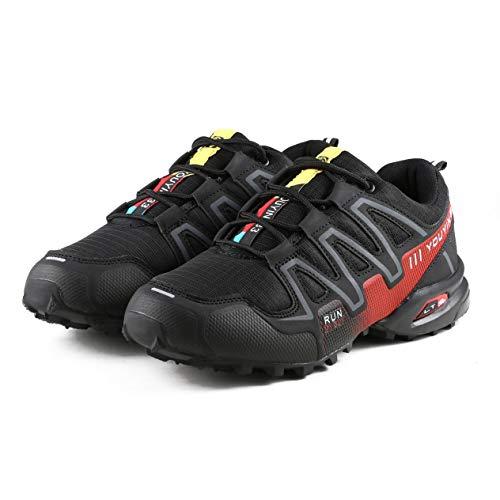 Herren Wanderschuhe Herren Outdoor Trekkingschuhe Atmungsaktive Laufschuhe Verschleißfeste Sportschuhe Reiseschuhe (schwarz & rot) BCVBFGCXVB