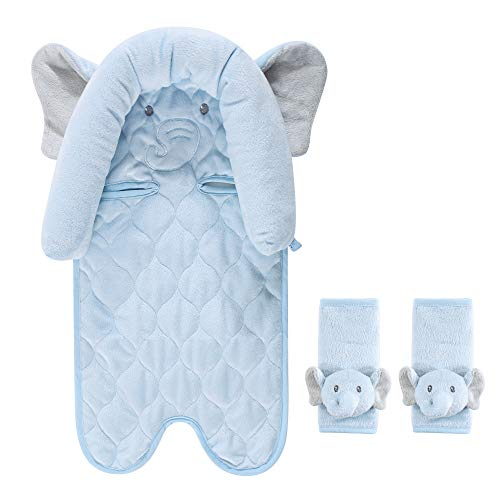 Hudson Baby Unisex Baby Car Seat Insert and Strap Covers, Blue Elephant, One Size
