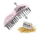 CHIARA AMBRA® Mini Bio Cepillo de pelo con pajita sin tirones, cepillo desenredante, cepillo único con muelle en espiral, tamaño de bolsillo, ideal para viajes, color rosa