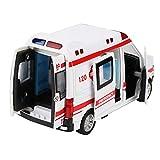 Ufolet Modelo de Ambulancia Fundido a presión, Equipado con Luces LED, Modelo Fundido a presión, emulado 1:36, para niños Juguete de tracción Juguete de Ambulancia Sonido de Metal