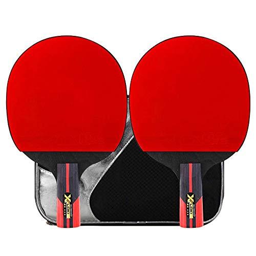 Lerten Raquetas de Tenis de Mesa,Palas de Ping Pong Ofensiva de 3 Estrellas Madera Pura de 5 Capas Esponja de Alta Elasticidad para Entrenamiento BáSico Principiantes/A/Mango corto