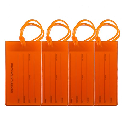 4 Packs Colorful Flexible Travel Luggage Tags for Baggage Bags/Suitcases - Name ID Labels Set for Travel - Orange