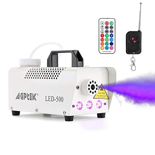 AGPTek Automatische Nebelmaschine mit Farbigem LED-Lichteffekt, Kabellose & Kabelgebundene Fernbedienungen mit Vorwärm-Licht-Anzeige, Perfekt für Halloween, Weihnachten, Hochzeit & Bühnen-Performance