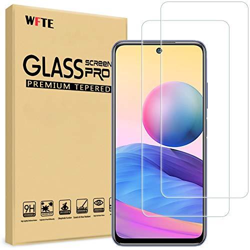 WFTE [Lot de 2] Verre Trempé pour Xiaomi redmi Note 10 5G, 0,26mm Film de Protection d'écran avec Haute Transparence à 99%, Anti-Trace Protecteur avec Dureté 9H Glass