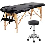 Yaheetech Wood 2 Folding Massage Table with Rolling Stool Portable Massage Bed Spa Bed Stool Adjustable Swivel Salon Chair Massage Therapy Table with Headrest & Armrest Black